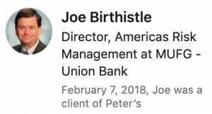 Recommendation from Joe Birthistle for Peter Walzer (via LinkedIn)