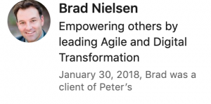 Recommendation from Brad Nielsen for Peter Walzer (via LinkedIn)