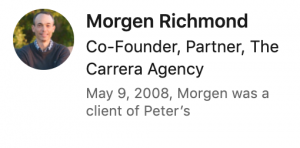 Recommendation from Morgen Richmond for Peter Walzer (via LinkedIn)